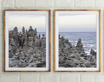 Balancing Rocks, Set Of 2, Nature Photography, Beach Print, Landscape Print, Wall Art, Posters, Print, Zen Print, Meditation Print, 156a