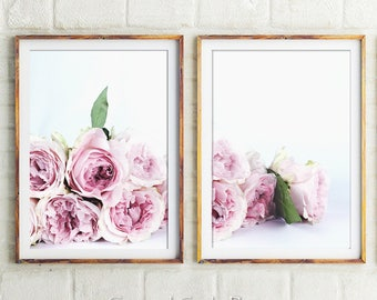 Set Of 2 Floral Prints, Pink Peonies Print, Peony Wall Art, Floral Print, Peony Print, Diptych, Botanical Wall Art, Prints, Roses Wall Decor