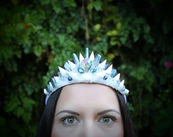 Shell crown, mermaid crown, crystal crown, mermaid tiara, shell tiara, mermaid costume, halloween costume,renaissance costume