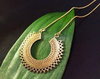 20% off SUMMER SALE Tribal Hoop Sun Necklace, Indian Rajasthani Brass Necklace, Indian Necklace, Brass Hoop Necklace, Boho Necklace, Tribal