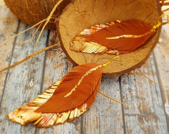 Brown-gold, copper Leather earrings, Long leather feathers earrings, Natural Leather Earrings, Lightweight earrings, Boho Feather Earrings