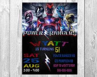Power Rangers Invitation, Power Rangers Birthday Party Invitation, Power Rangers Party, Power Rangers Birthday