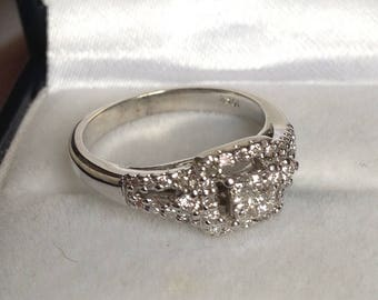 White Gold Diamond Princess Halo Ring, As new bridal ring re-plated, 10kt white gold,  Size 5 1/4, K 1/4