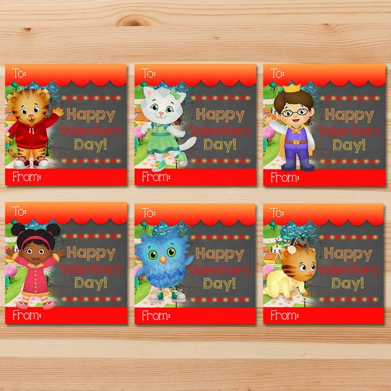 Daniel Tiger Valentine's Day Cards - Red Chalkboard - Boy Daniel Tiger Valentines - Daniel Tiger School Valentine's Day Cards