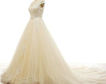 Wedding Dress/Lace Tulle A line Bridal Dress/Wedding Ball Gown/Princess Wedding Dress