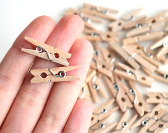 Wooden mini clothespins, 25/50 pieces, plain wood clothespins, wedding clothespins, mini clothesline, 50 wooden pegs, 1inch clothespins wood