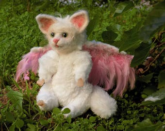 White Kitten, All Cats Angels, White cat with wings, pink feather wings, art dolls, art cat, Angel, 8""