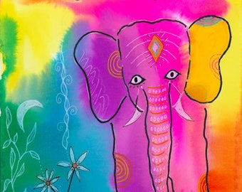 Elephant -011-Mixed Media Painting by Carianne James