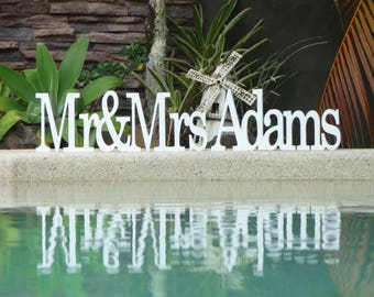 Wedding Sign, Wedding table decor, Mr and Mrs custom wedding sign, Rustic wedding sign, Wooden wedding sign.