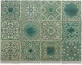16 tiles with ornaments (dark green) + 2 knobs No.1 (gray-turquoise)