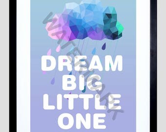 New Baby Gift, Nursery Art Print, Dream Big Little One, Baby Boy Gift, Blue Nursery Art, Children, Kids F12X12159