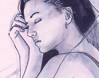 Card drawing Original Drawing Portrait woman resting sleeping sleeping Girl Sleeping CSP
