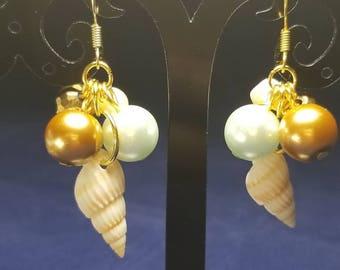 Gold/Teal Pearl & Shell Earrings #PR3177