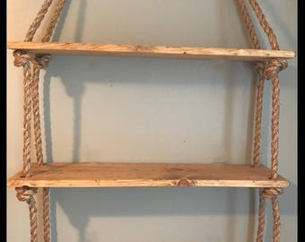Rope-distressed-wood-large hanging shelves-wall organization-housewarming-nursery-bedroom-bathroom-dorm-shelving-rustic-farmhouse