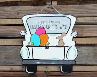 Easter Door Hanger- Hippity Hoppity, easter front door decor, wooden door hanger, personalized door hanger