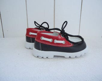 Kids Moccasin Lace up Baby Boat Shoe Leather Navy Blue Red White