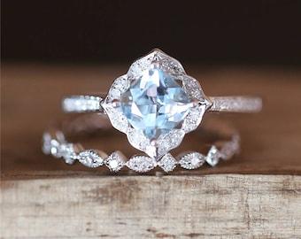 Vintage Aquamarine Ring Set 6mm Cushion Cut Aquamarine Engagement Ring Set Art Deco Full Eternity Wedding Ring Set 14K White Gold Ring Set