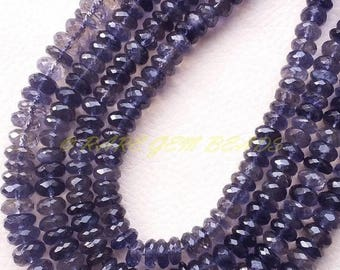"""38% OFF Natural Iolite Rondelle, Iolite Faceted Rondelle Beads, 7-8 MM Size, 14"""" Strand, Loose Gemstone Roundel Beads, Best AAA High Quality"""
