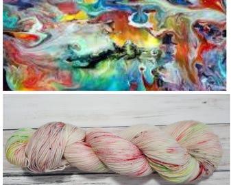 Hand Dyed Yarn, Merino, Nylon, Fingering Weight Tonal Sock Yarn Perfect for Socks, Lightweight Accessories - Bright Neon Marble