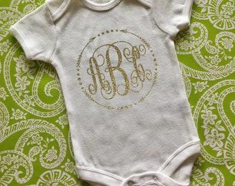 Monogram Onesie Monogram Bodysuit Personalized Onesie Baby Girl Onesie Baby Shower Gift Birth Announcement Onesie Gold Glitter Onesie