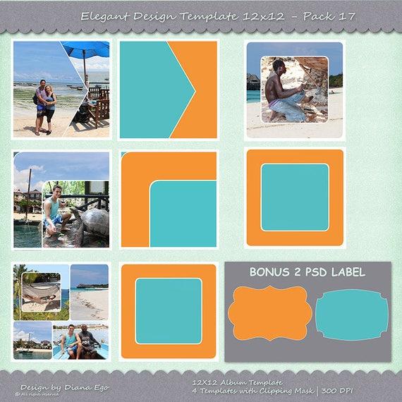 Paquete de plantilla de álbum de foto de 12 x 12 4 PSD