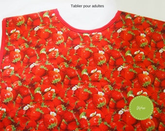 Apron for adults with strawberries.