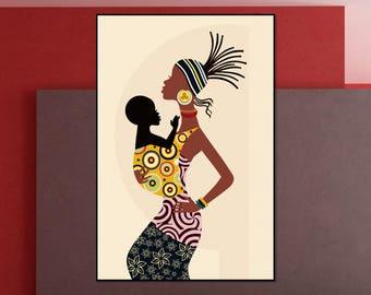 Gentil African Wall Art. African Woman. African Decor. Black Art. Female. Black