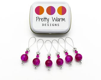 Pink Knitting Stitch Markers - Gift for Knitter - Snag Free Stitch Markers - Beaded Stitch Markers - Knitting Supplies - Grandma Gift