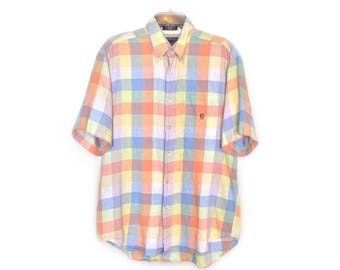 1990s Pastel Plaid Linen Shirt by Alexander Julian Colours - Size Medium - Vintage