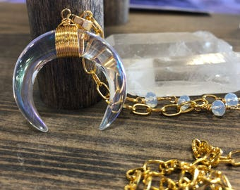 READY TO SHIP rainbow titanium glass necklace on gold plated chain