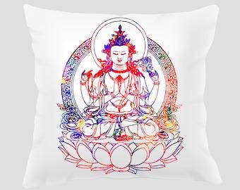 Buddha 1 Throw Pillow, Pillow Cover, Accent Pillow, Zen Decor