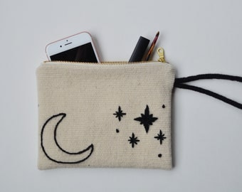 Moon and Stars Pouch Bag Wool Clutch Bag Hand Embroidered Purse with Zipper Gift Bag Cosmetic Bag