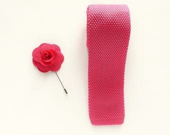 knitted pink skinny tie wedding tie gift for men pink boutonniere wedding lapel pin groomsmen