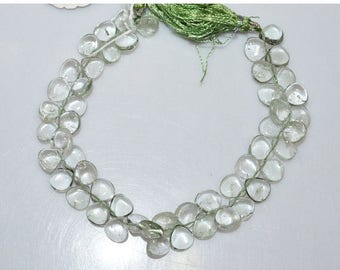 """50% OFF Natural Green Amethyst Smooth Heart Shape Beads - Green Amethyst Heart Shape Briolette , 8 x 8 mm , 8"""" , BL1856"""