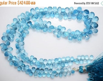 "50% OFF 1 Strand Swiss Blue Topaz Faceted Tear Drop Beads-Swiss Blue Topaz Tear Drop Briolette, 4x3 - 7x5 mm, 13.5"", BL372"