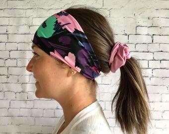 Sport headband, dark floral hair band, women accessory