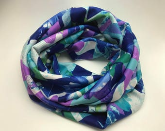 Blue/purple/green infinity scarf, infinity scarf