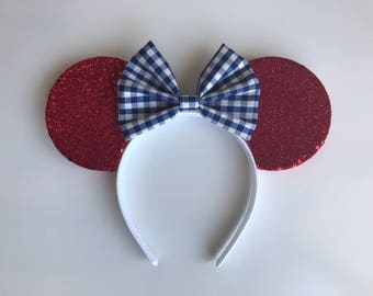 Red, White, and Blue Minnie Mouse Ears ***READY TO SHIP***