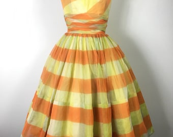 VTG *50s Striped Candy Corn Dress
