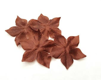 3 flowers for wedding, scrapbooking, cardmaking, sewing jewelry chocolate brown Silk Satin