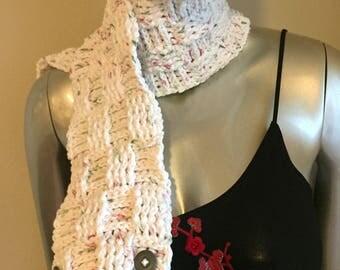 "Crochet ""Candy Cane"" Basketweave Scarf (Short)"