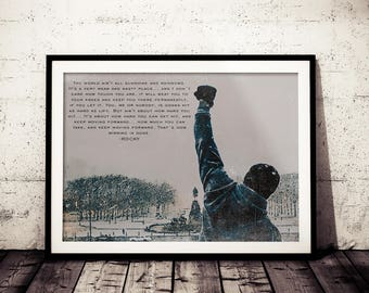 Rocky Inspirational Quote Fan Art Poster, Original Distressed Rocky Painting Print, Motivation Rocky Poster, Rocky Wall Decor, Rocky Balboa