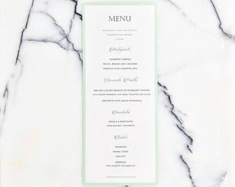 Elegegant Mint Wedding Dinner Menu - Modern Dinner Menu in Mint, Wedding Dinner Card