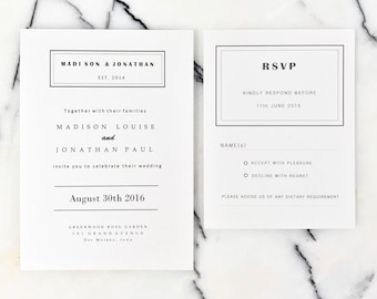 Simple Black and White Wedding Invitations Suite, Monochrome Wedding Invitation Set with Modern Script, Modern Wedding Invites Suite