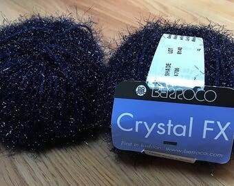 "Berocco Crystal FX - 2 Balls - Color #4706 ""Carbon"" (Midnight Blue / Blue Sparkle), Lot #8140 - 100% Nylon - 2 Balls"