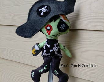 Handmade Boy Zombie Pirate, Cloth Doll, Dress Up Doll, Child Toy