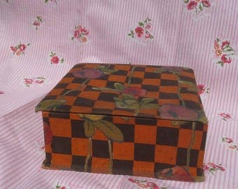 1930's French fabric covered box deco roses