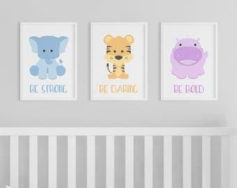 Animal Prints | Zoo Animals | Nursery Art | Strong Daring Bold | Set of 3 Prints | Safari Nursery | Hippo | Tiger | Elephant | Safari Animal