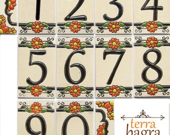 Handmade Ceramic House Numbers and letters MARIGOLD - small size