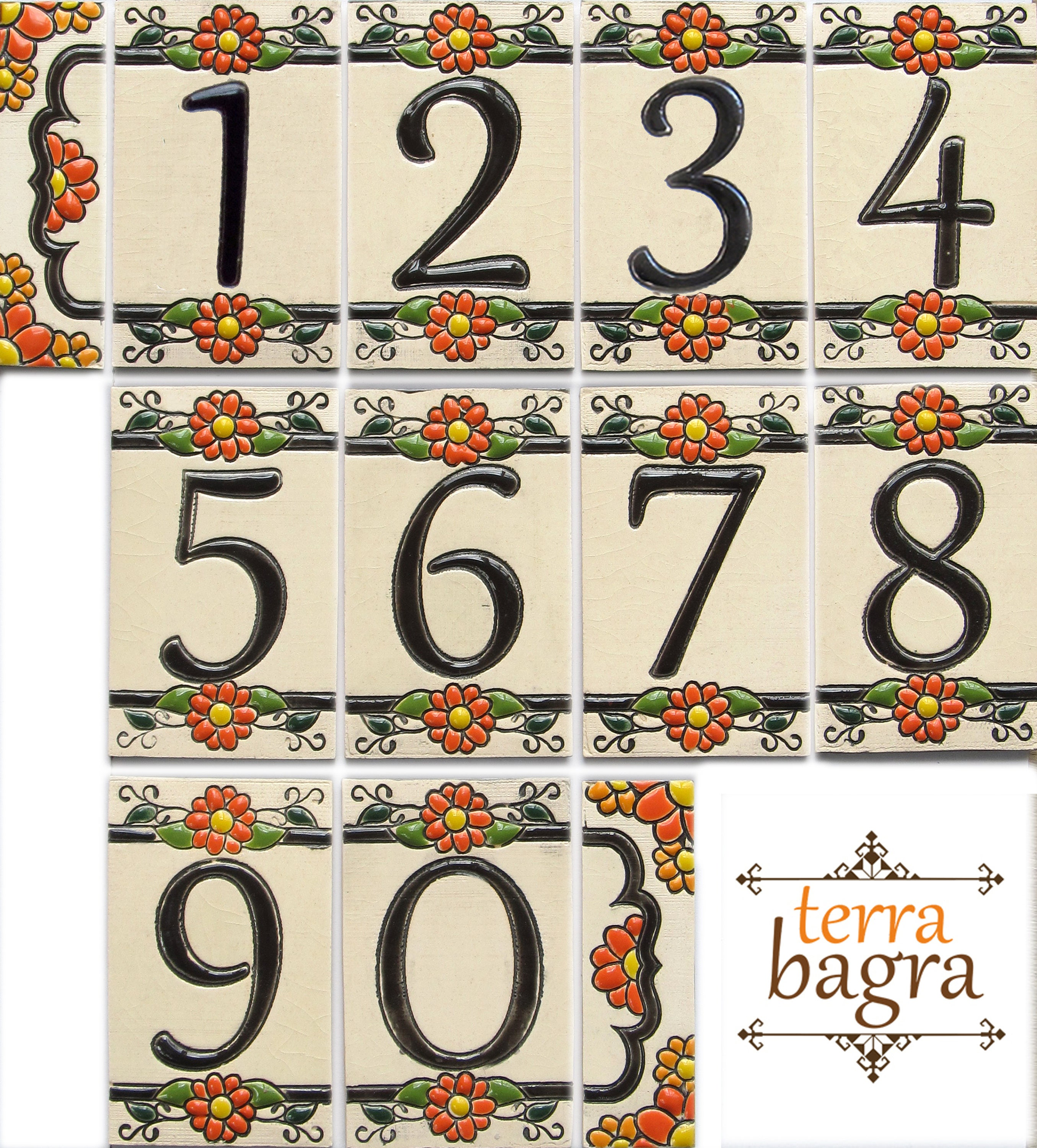 Handmade ceramic house numbers and letters marigold small for Ceramic tile numbers and letters